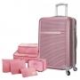 Mala de Viagem Pequena em Abs Rodinhas 360º Palermo Com Kit Organizador Rosa