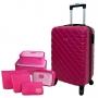 Mala de Viagem Pequena para Bordo Açores com Kit Organizadores Pink