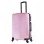 Mala de Viagem Pequena Rodinhas 360º Cadeado TSA Glitter Com Kit Organizador Rosa