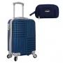 Mini Mala de Viagem Turim Com Rodas 360° ABS Azul Com Nécessaire