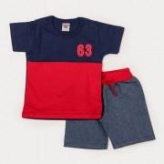 Conjunto Meninos Bermuda Sarja Jeans e Blusa Vermelho e Marinho Meia Malha Infantil