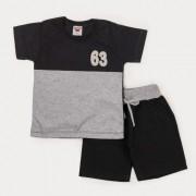 Conjunto Meninos Bermuda Sarja Jeans  Preto e Blusa Preto e Cinza Meia Malha Infantil