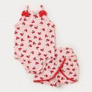 Conjunto Rosa Cereja para Bebê Menina Body e Short Saia
