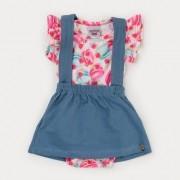 Jardineira Bebê Menina Jeans e Body estampado