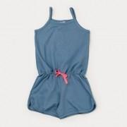 Macaquinho de Verão Infantil Feminino em Cotton Jeans - Azul claro