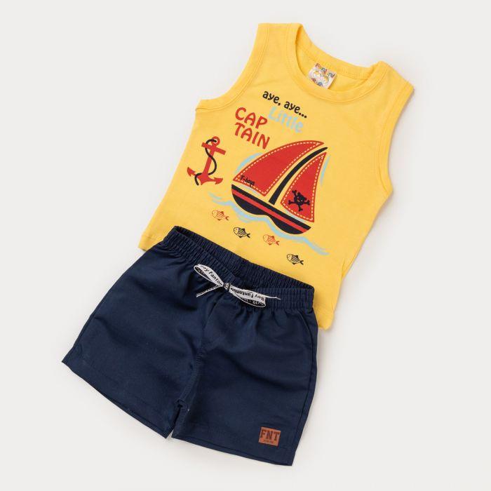 Conjunto bebê Menino - Bermuda Marinho e Regata Amarela Barco