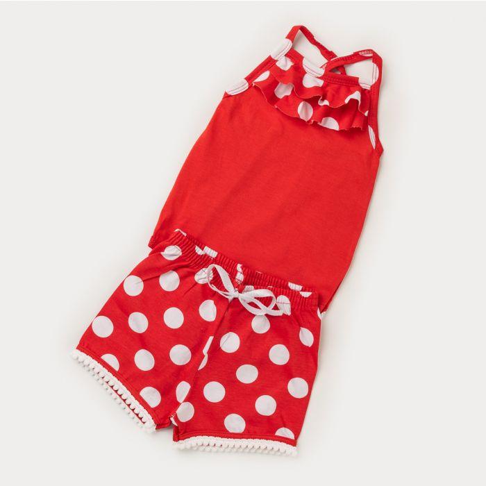 Conjunto Body Vermelho e Short com Bolinha Branca para Bebê Menina