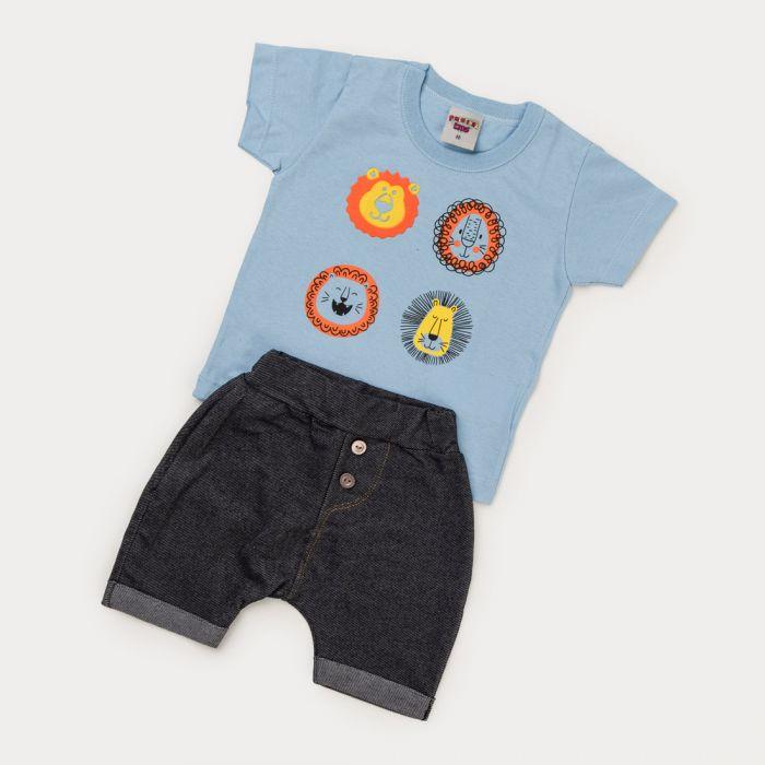 Conjunto de Verão Bebê Menino Blusa Leão e Bermuda Cotton Jeans