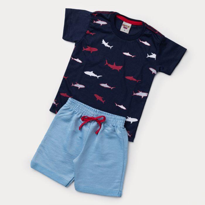 Conjunto de Verão Blusa Tubarão e Bermuda Moletinho