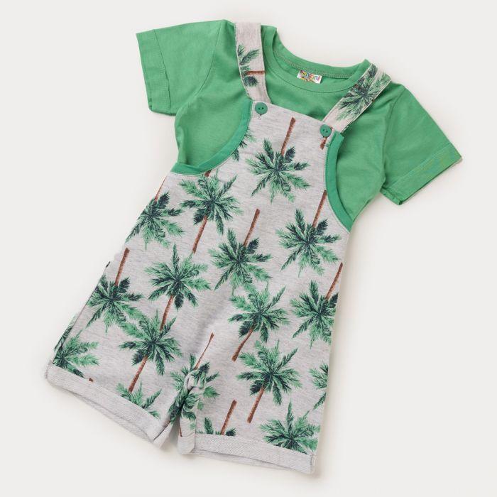 Conjunto Jardineira e Camiseta Coqueiro Verde