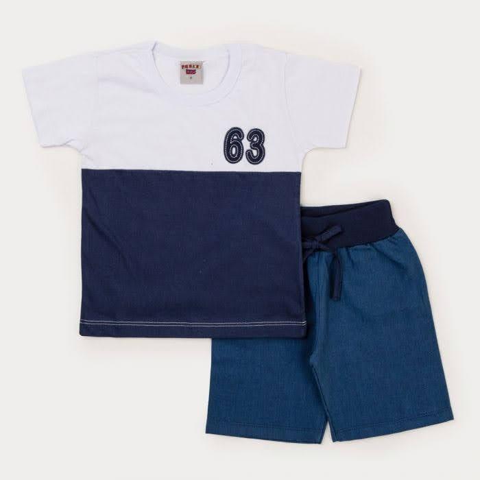 Conjunto Meninos Bermuda Sarja Jeans e Blusa Branco e Marinho Meia Malha Infantil