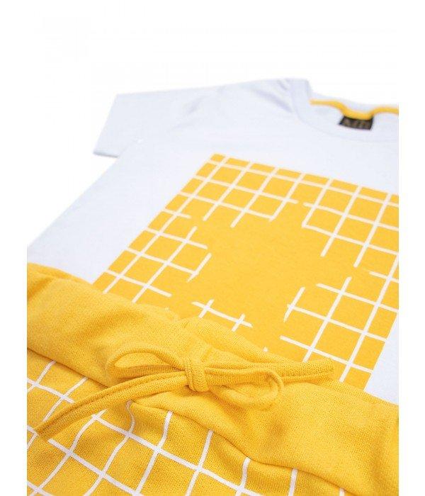 Conjunto Verão Menino Estrela- Branco e Amarelo