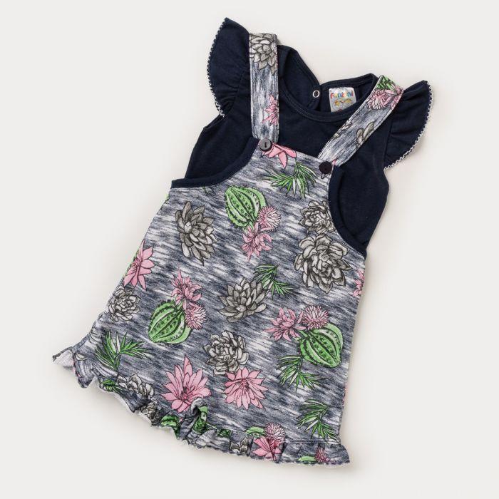 Jardineira Feminina para Bebê em Moletinho Estampada e Blusa Marinho