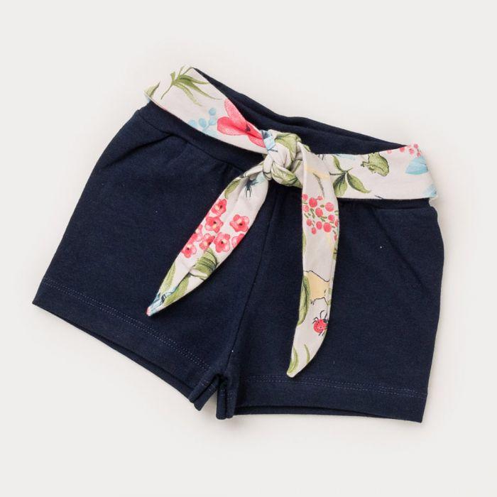 Short Marinho para Bebê Menina com Amarração Floral na Cintura
