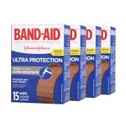 Kit c/ 4 Curativos BAND AID Ultra Protection 15 unidades