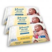 Kit com 3 Lenços Umedecidos JOHNSON'S Baby Recém Nascido Sem Fragrância 48 unidades