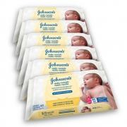 Kit com 6 Lenços Umedecidos JOHNSON'S Baby Recém Nascido Sem Fragrância com 48 unidades