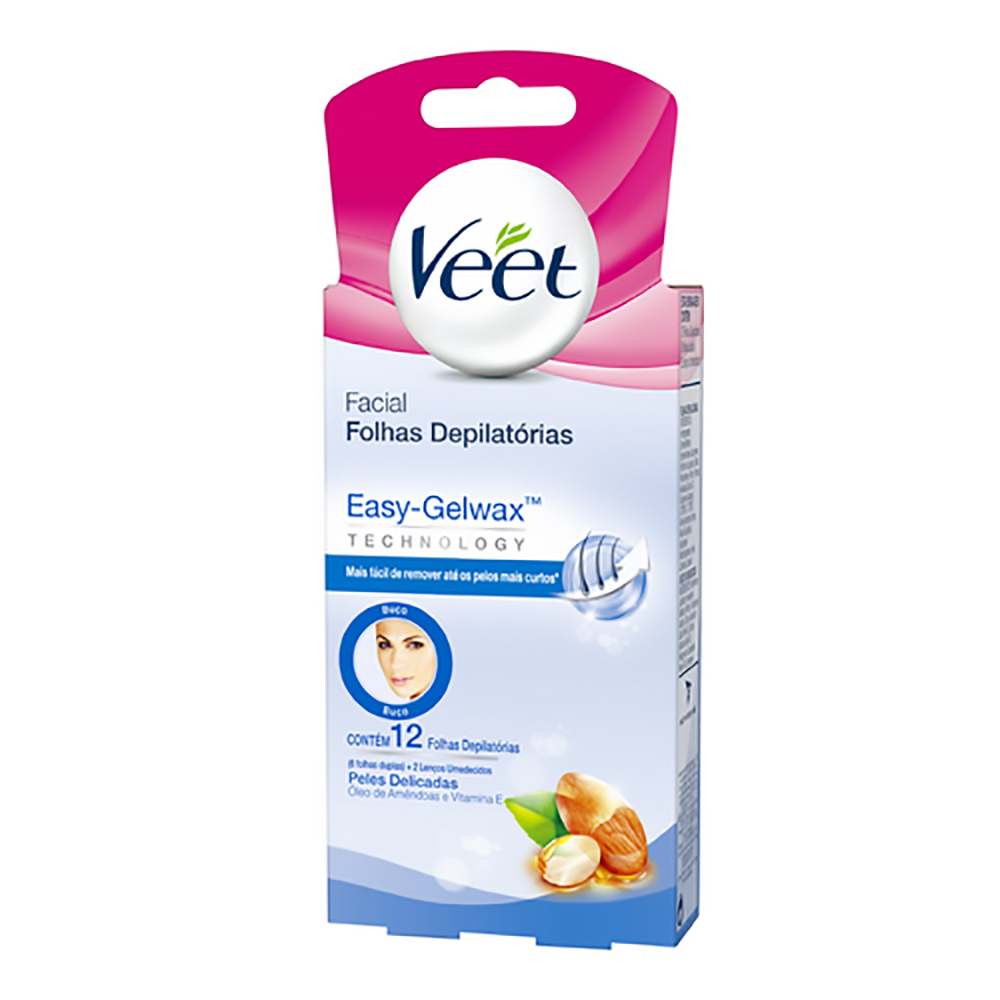 Cera VEET Fria Peles Delicadas Facial 12 unidades - CX c/ 12