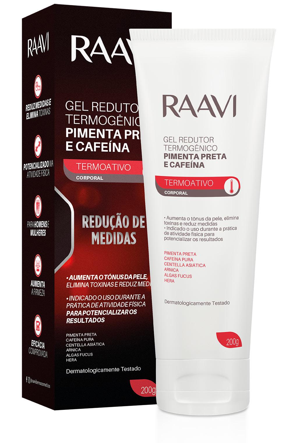 Gel Redutor de Medidas Raavi Termogenico Pimenta Preta e Cafeina 200g - CX c/ 6