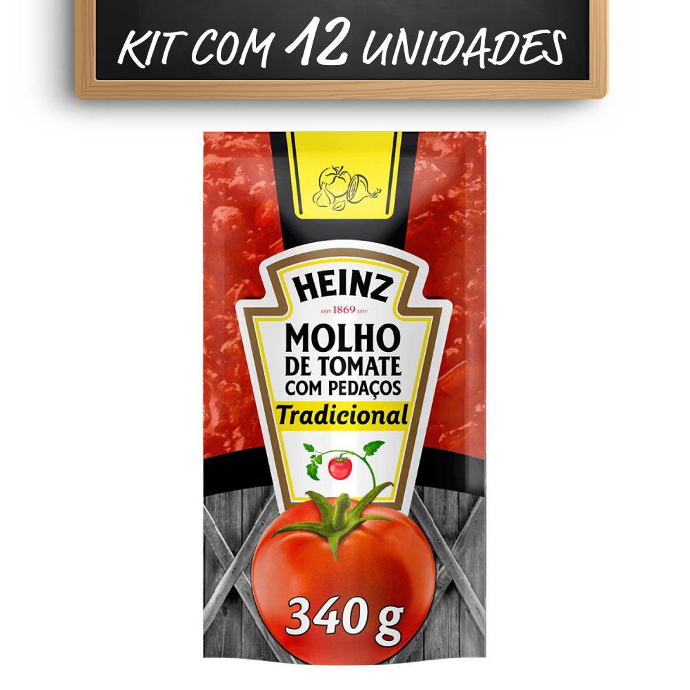 Kit c/ 12 Molho De Tomate Heinz Tradicional 340g