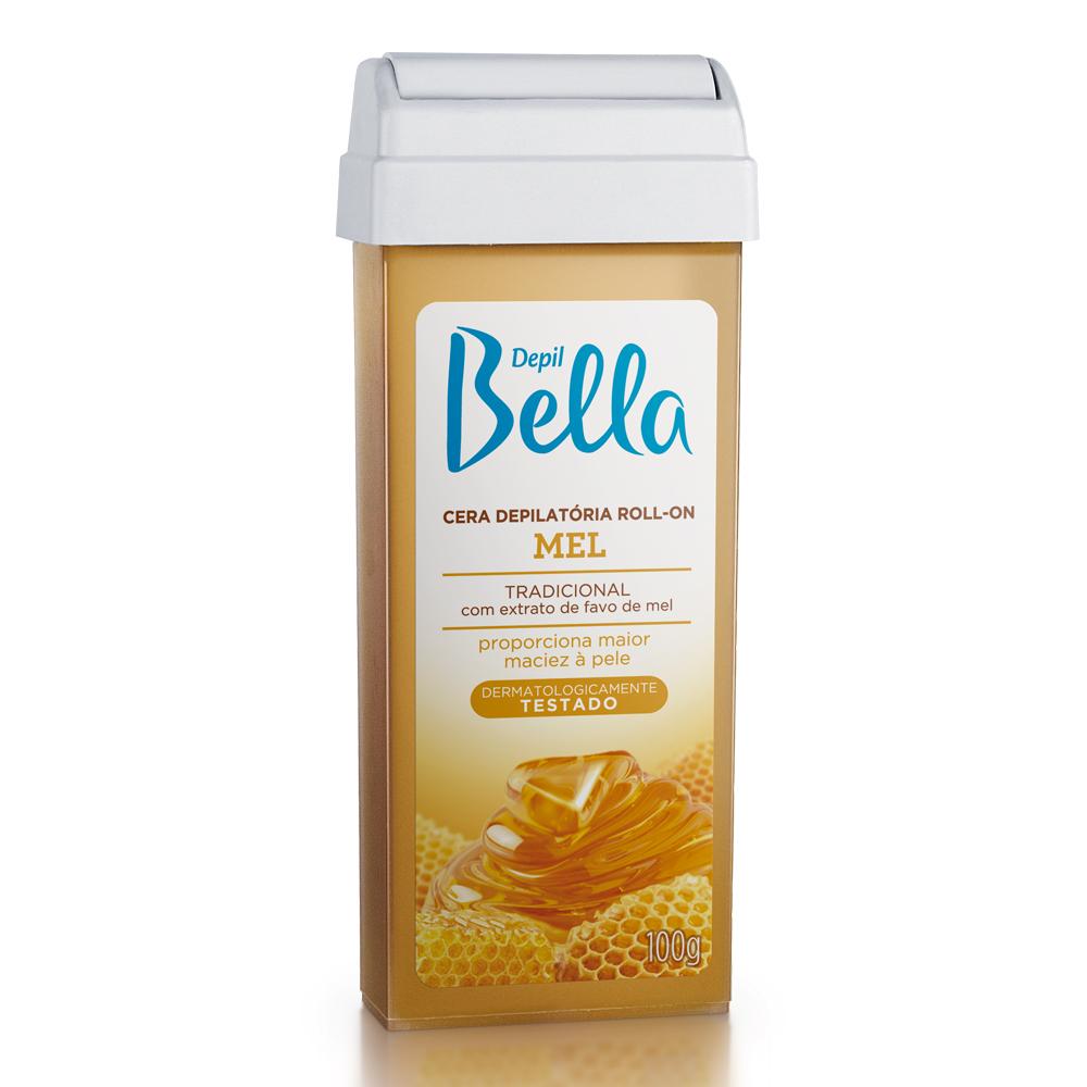Kit c/ 12 Refil Cera Depilatória Roll-On Depil Bella Mel Deo 100g