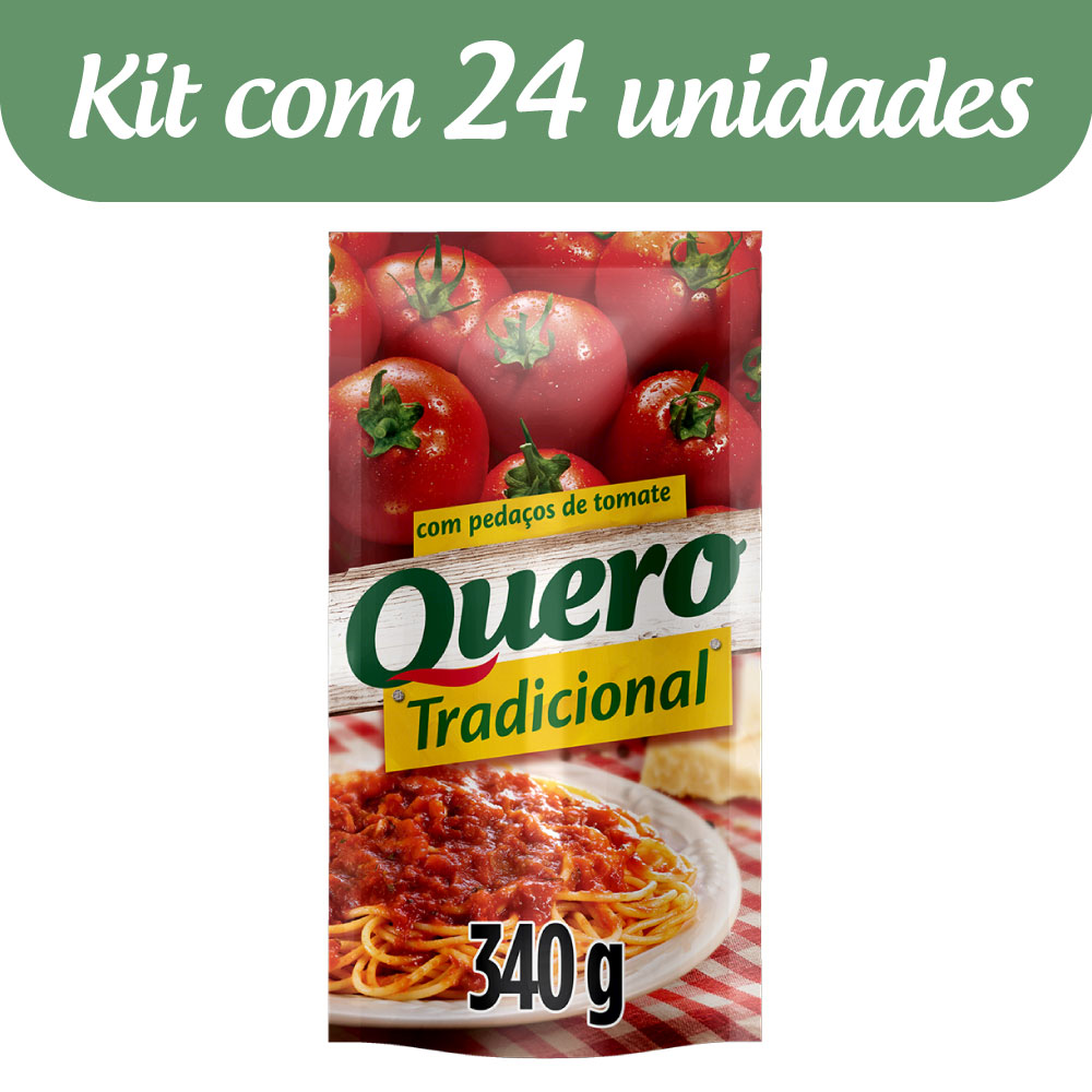 Kit c/ 24 Molho De Tomate Quero Tradicional 340g