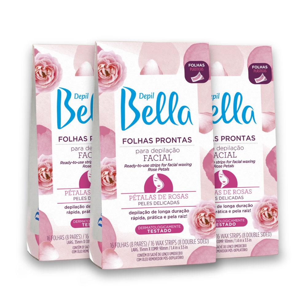 Kit c/ 3 - Folhas Prontas para Depilação Facial Pétalas de Rosas Depil Bella 16fls