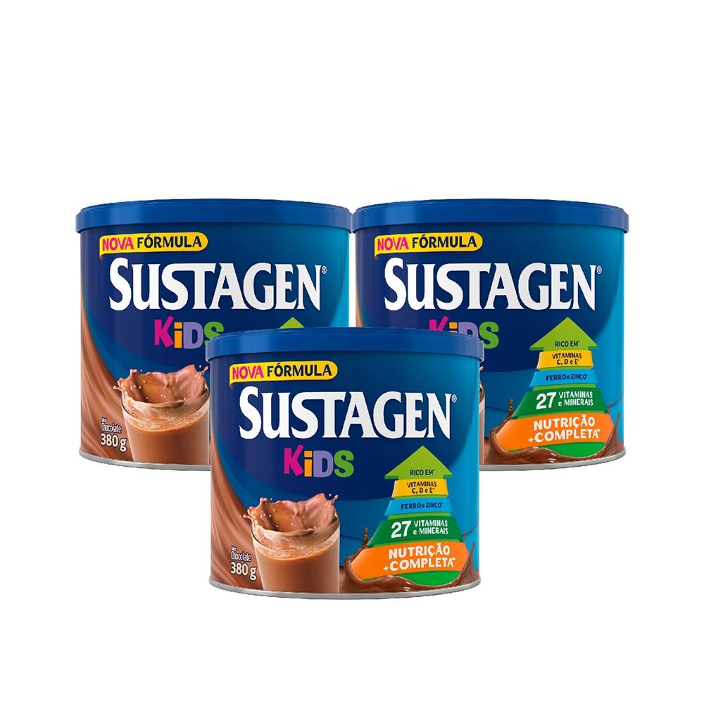 Kit c/ 3 Sustagen Kids 380g Chocolate