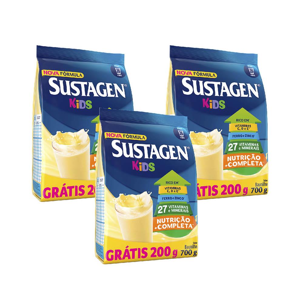 Kit c/ 3 Sustagen Kids Baunilha Sachê Leve 700Gr Pague 500Gr