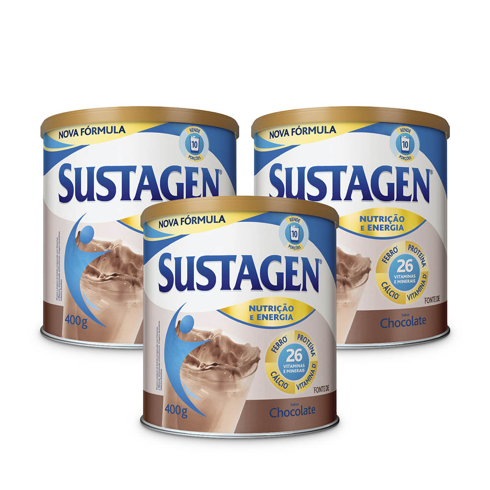 Kit c/ 3 Sustagen NE 400g Chocolate