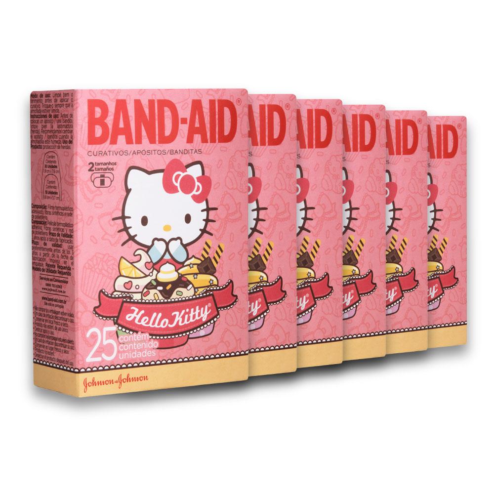 Kit c/ 6 Curativos BAND AID Hello Kitty 25 unidades