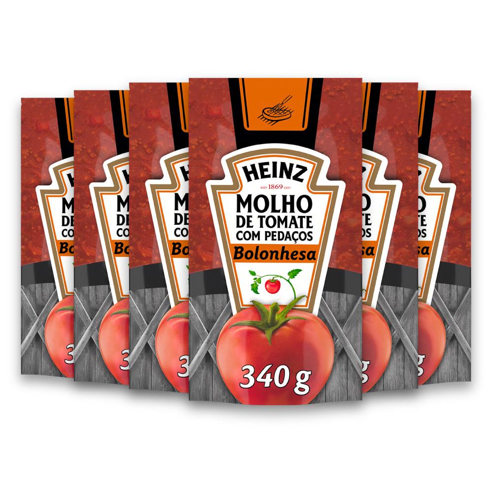 Kit c/ 6 Molho De Tomate Heinz Bolonhesa 340g
