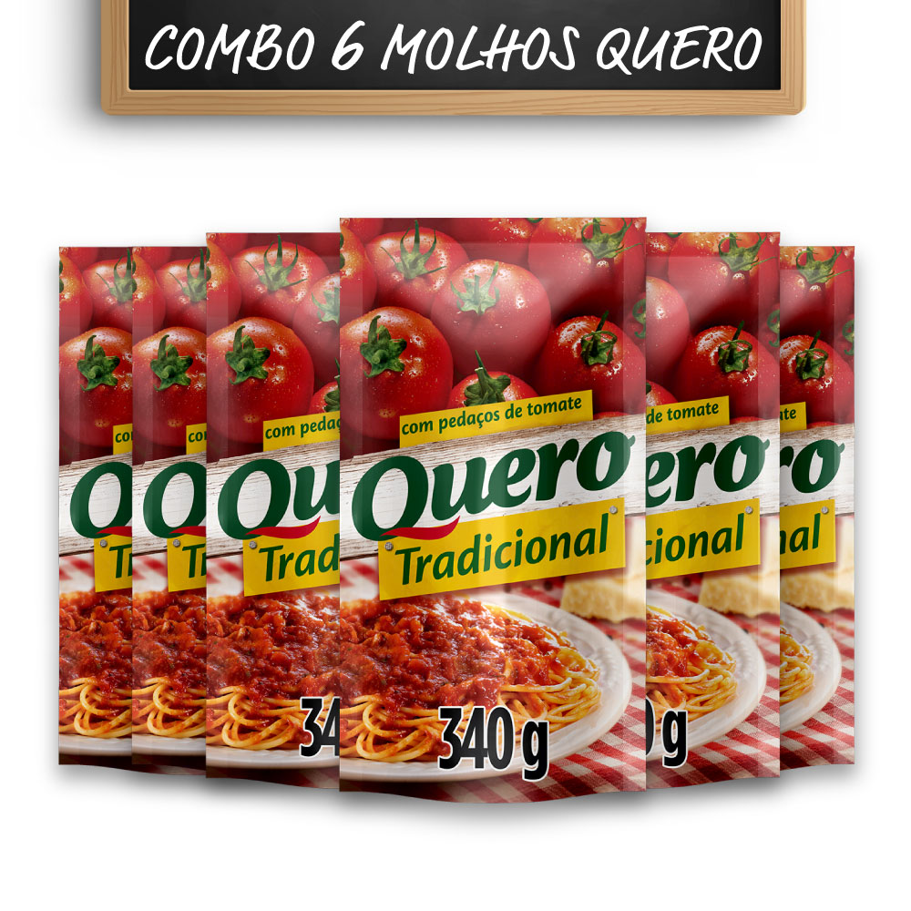 Kit c/ 6 Molhos de Tomate Quero Tradicional 340g
