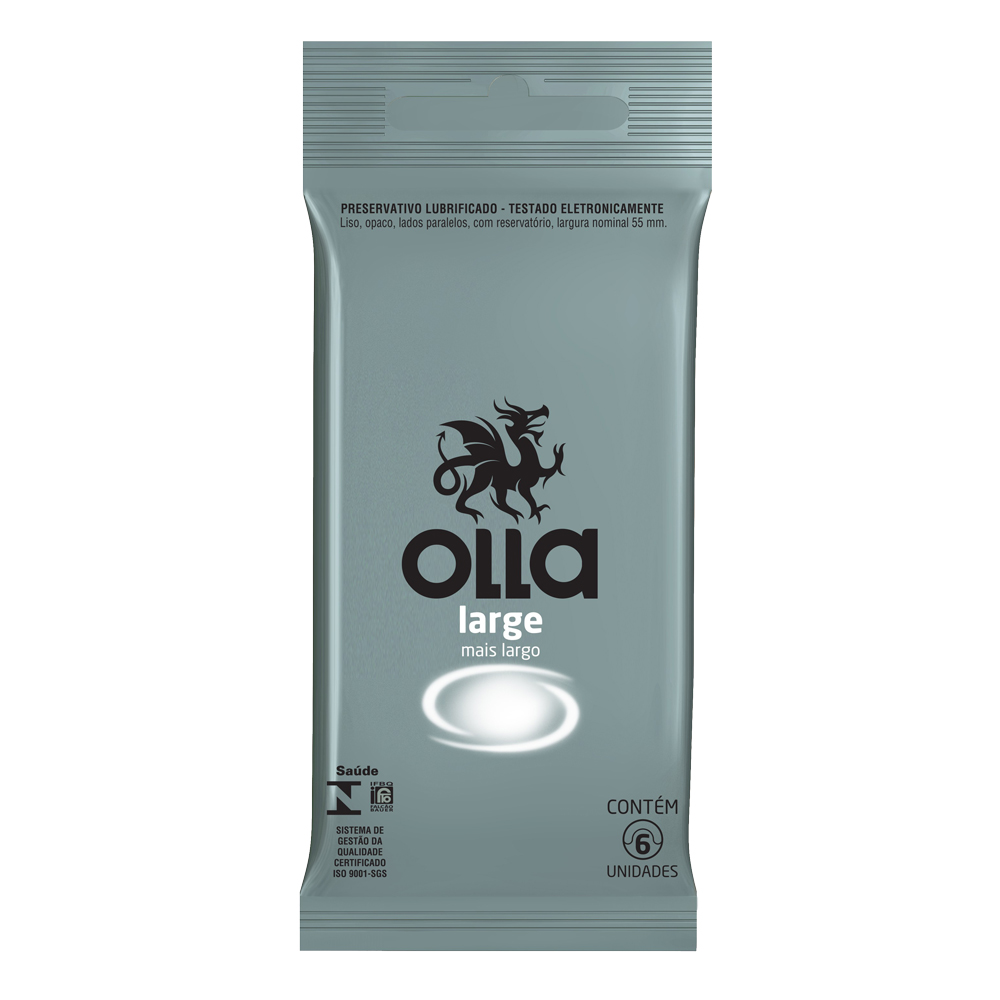 Kit c/ 6 Preservativo OLLA Lubrificado Large 6 unidades