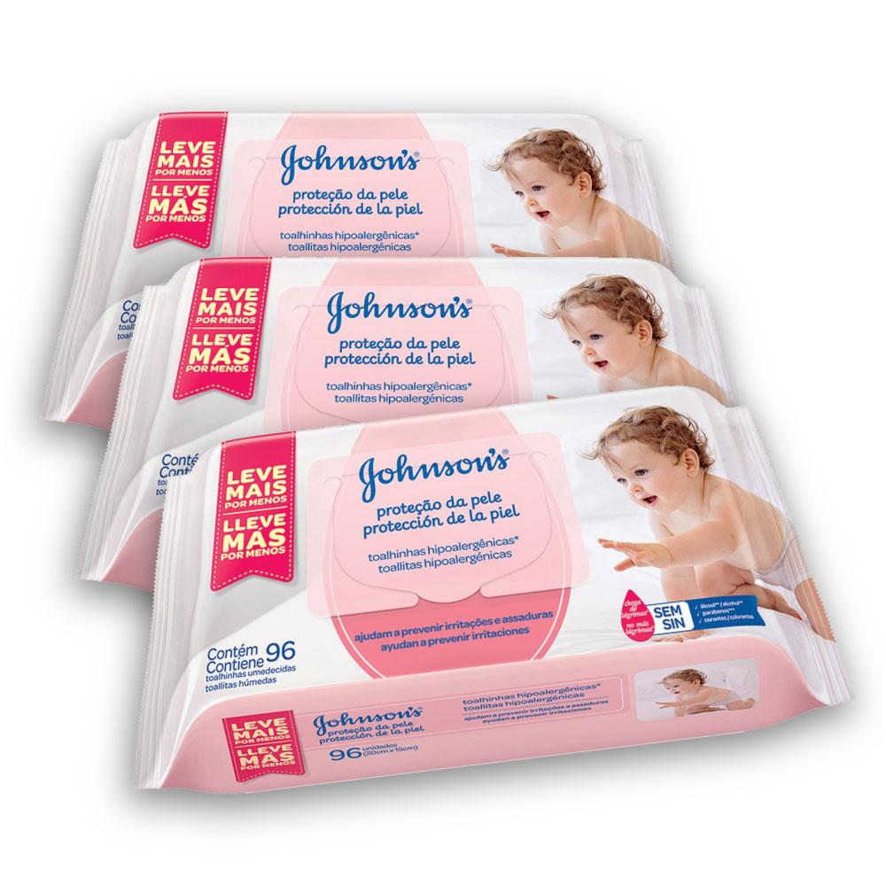 Kit com 3 Lenços Umedecidos JOHNSON'S Baby Extra Cuidado 96 unidades