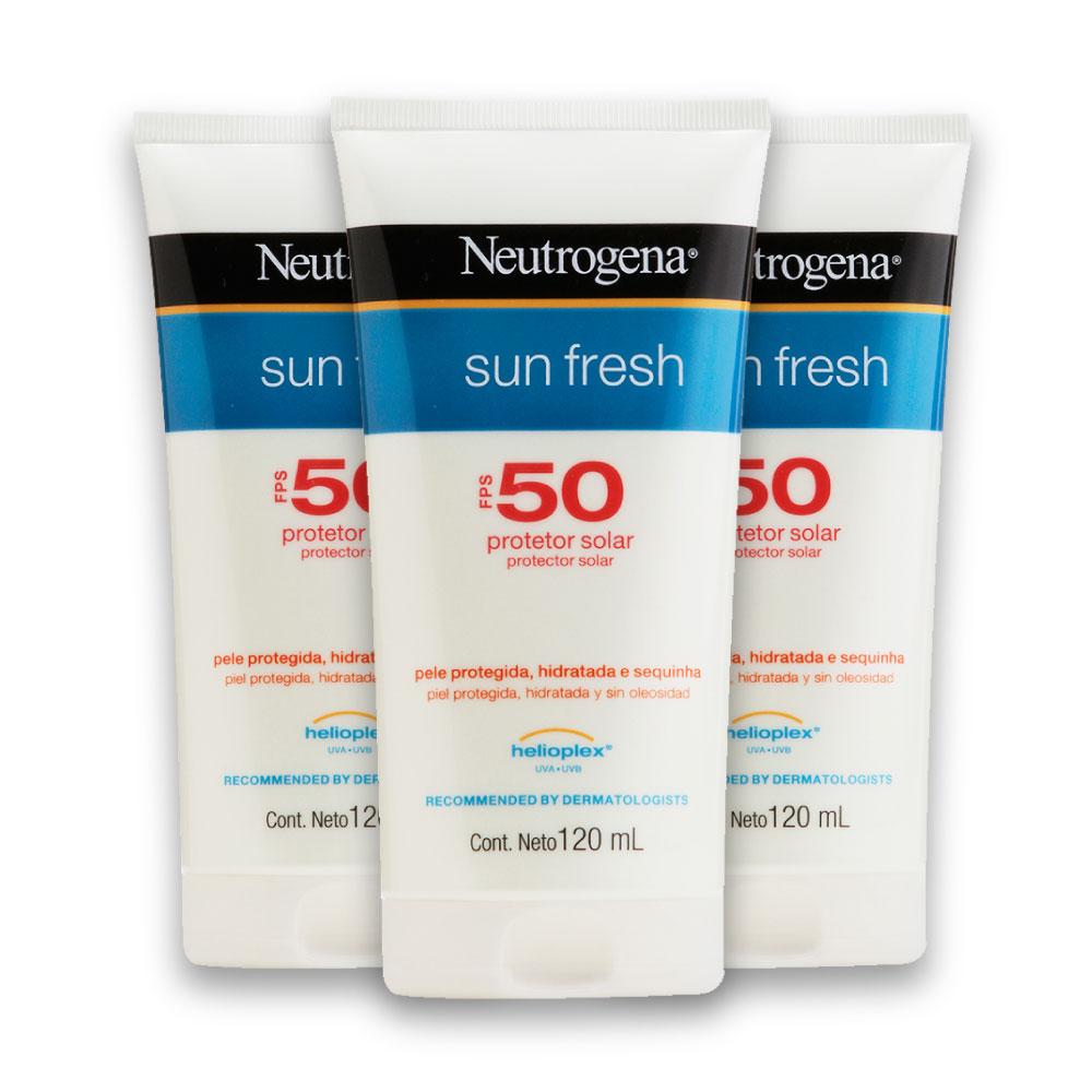 Kit com 3 Protetores Solar NEUTROGENA Sun Fresh FPS 50 120ml