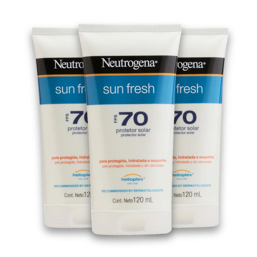 Kit com 3 Protetores Solar NEUTROGENA Sun Fresh FPS 70 120ml