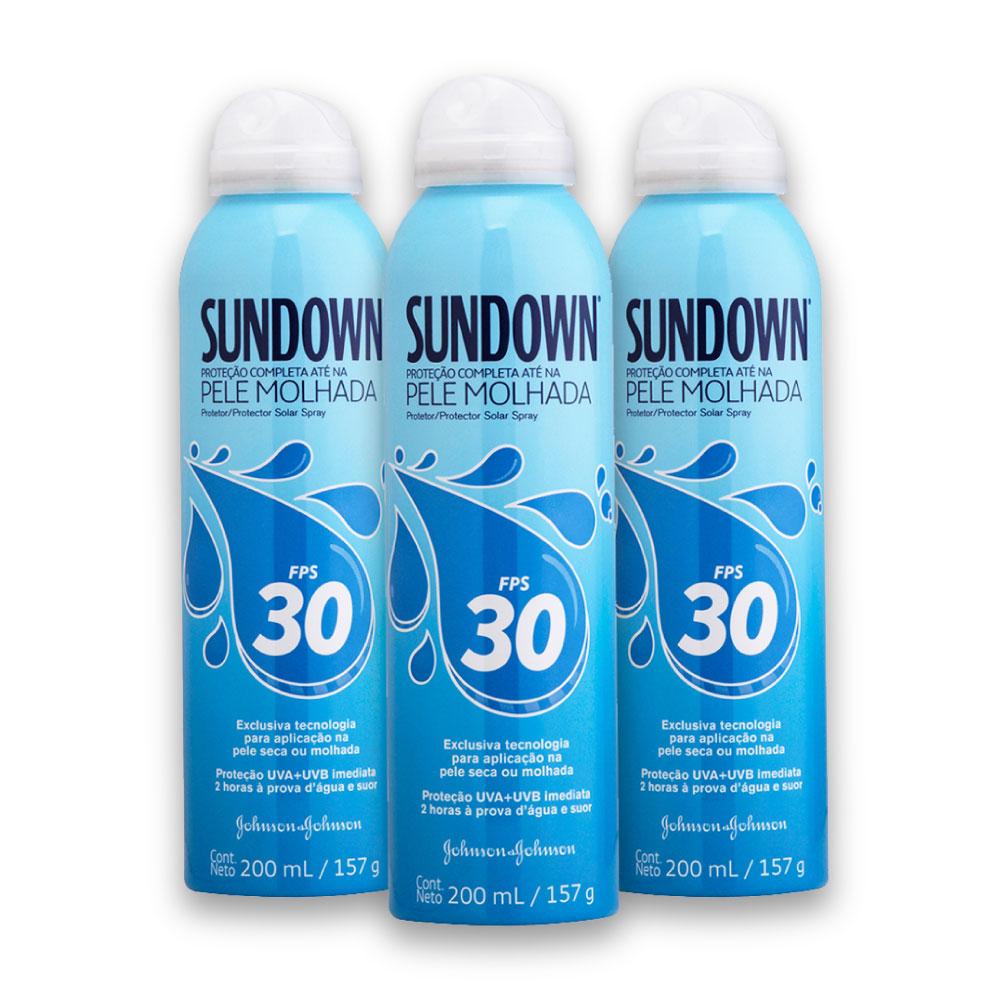 Kit com 3 Protetores Solar SUNDOWN Pele Molhada FPS 30 Spray 200ml