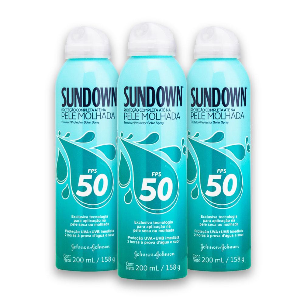 Kit com 3 Protetores Solar SUNDOWN Pele Molhada FPS 50 Spray 200ml