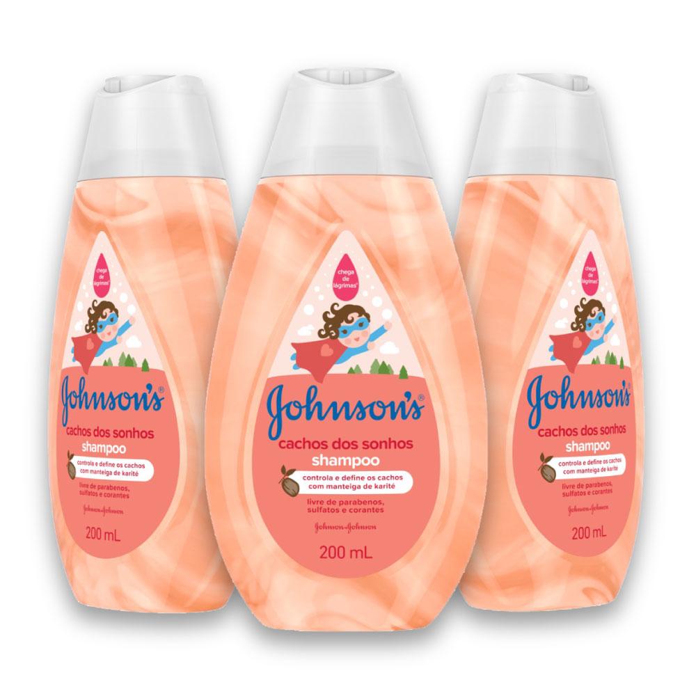 Kit com 3 Shampoos JOHNSON'S Baby Cachos Definidos 200ml