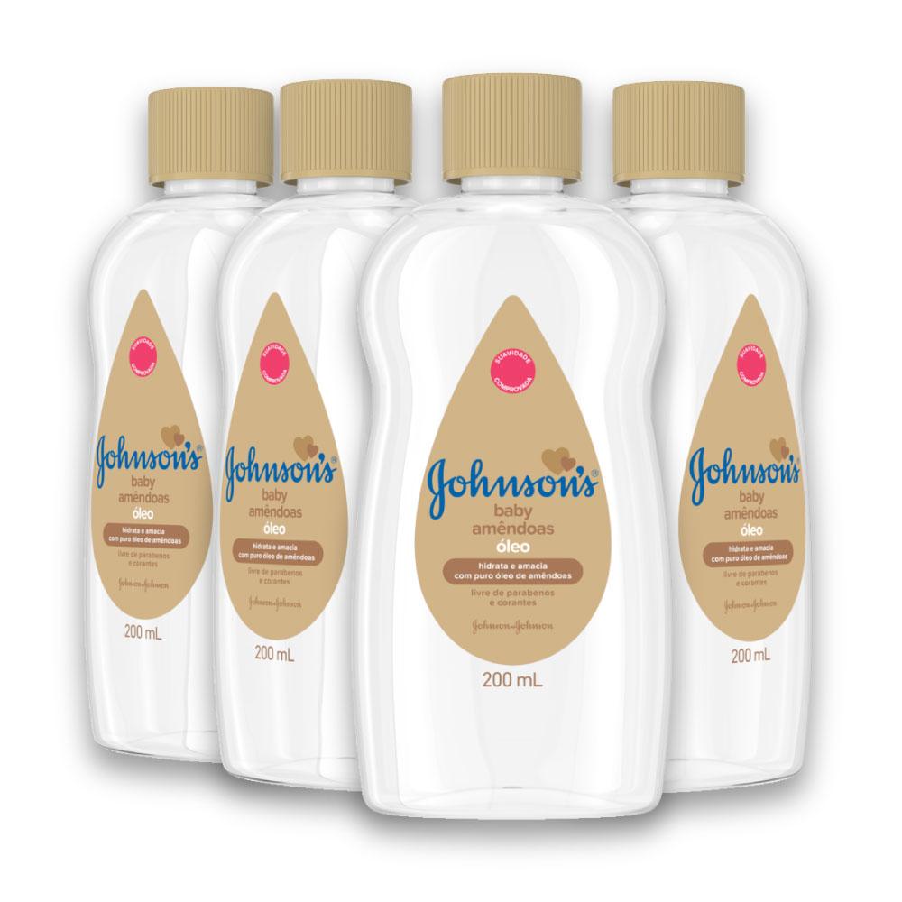 Kit com 4 Óleos JOHNSON'S Baby Amêndoas 200 ml