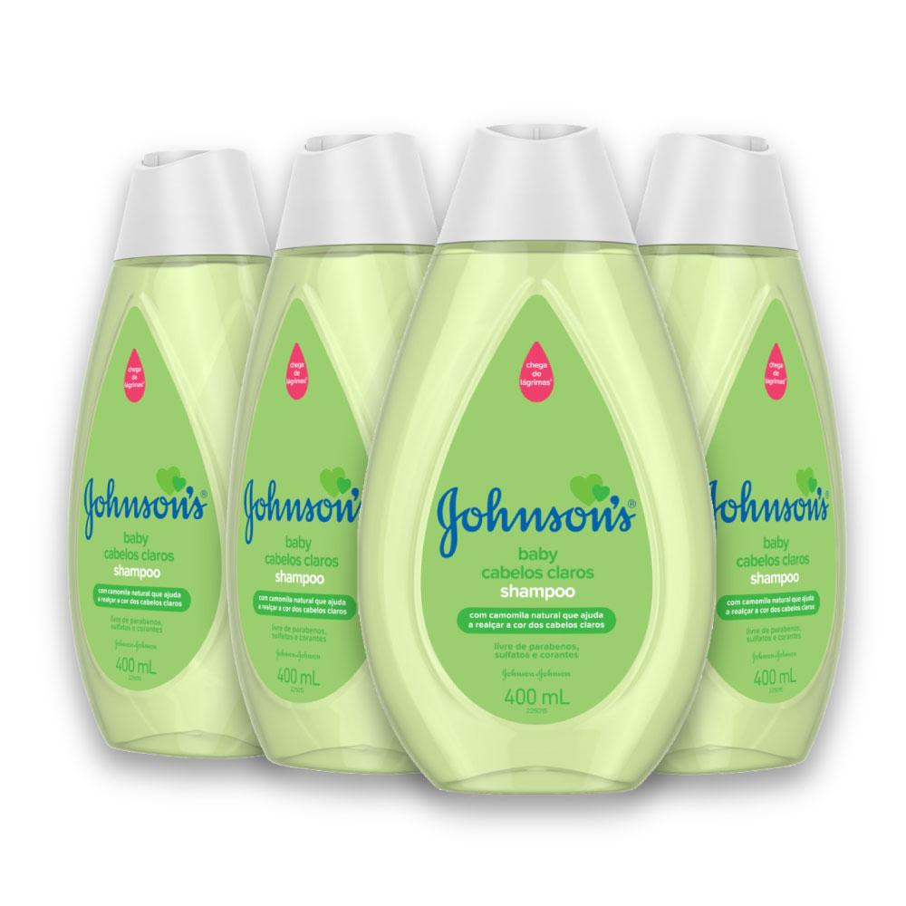 Kit com 4 Shampoos JOHNSON'S Baby Cabelos Claros 400 ml