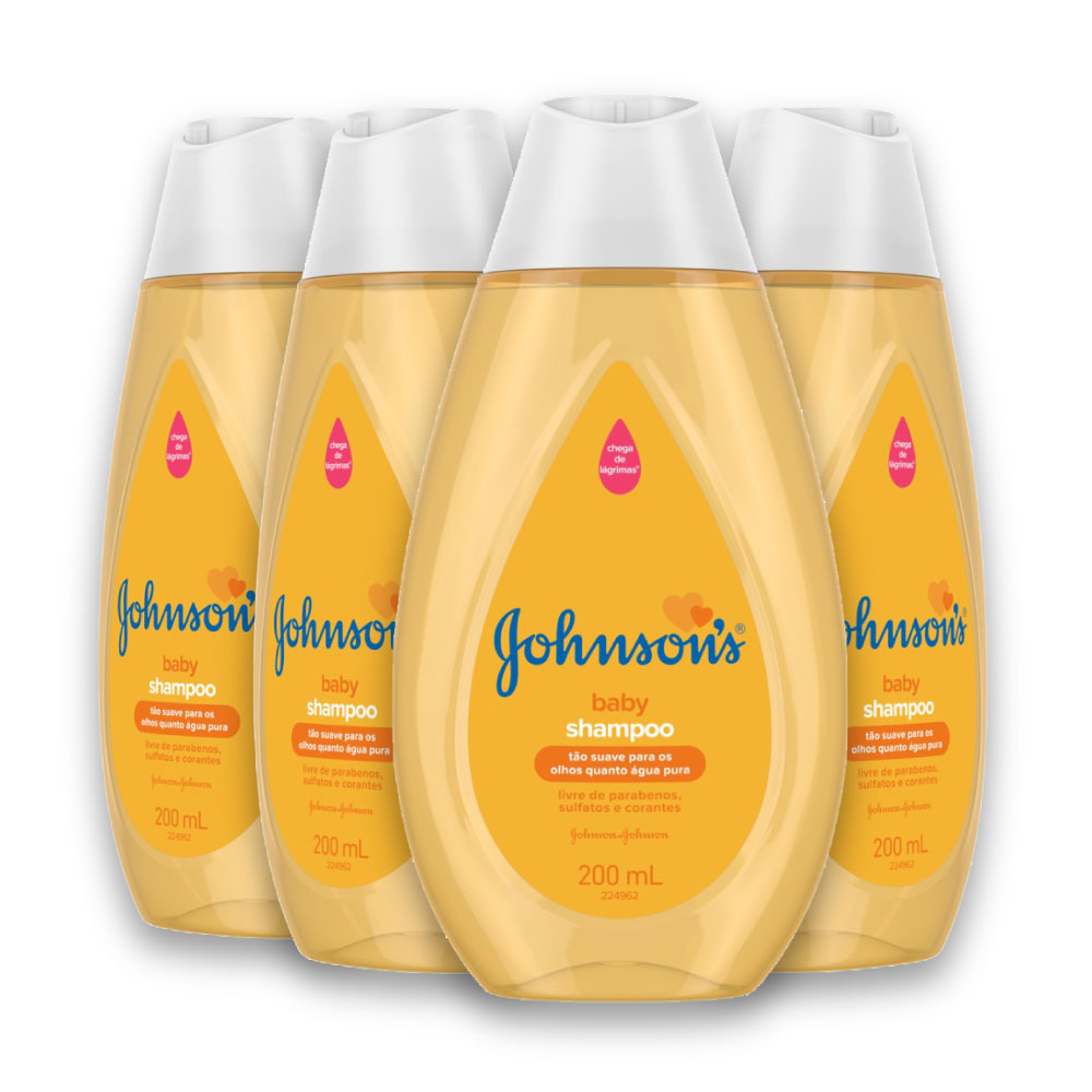 Kit com 4 Shampoos JOHNSON'S Baby Regular 200 ml
