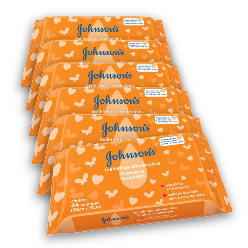 Kit com 6 Lenços Umedecidos JOHNSON'S Baby Limpeza E Suavidade 44 UN
