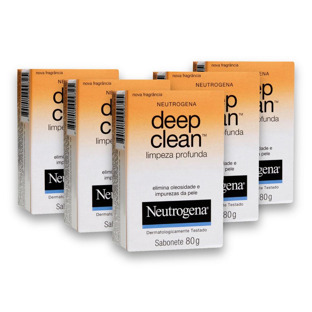 Kit com 6 Sabonetes Facial NEUTROGENA DEEP CLEAN 80g