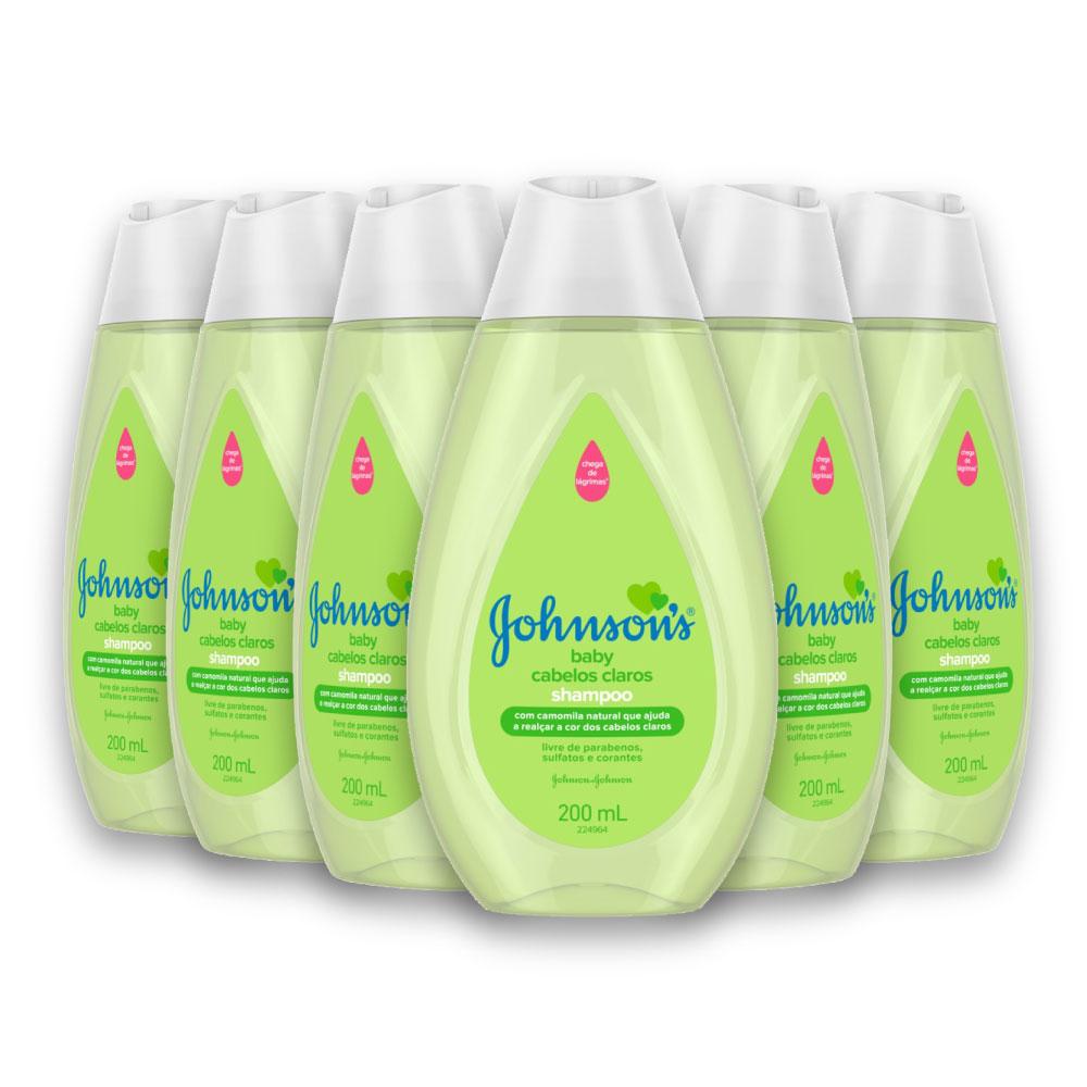Kit com 6 Shampoos JOHNSON'S Baby Cabelos Claros 200 ml