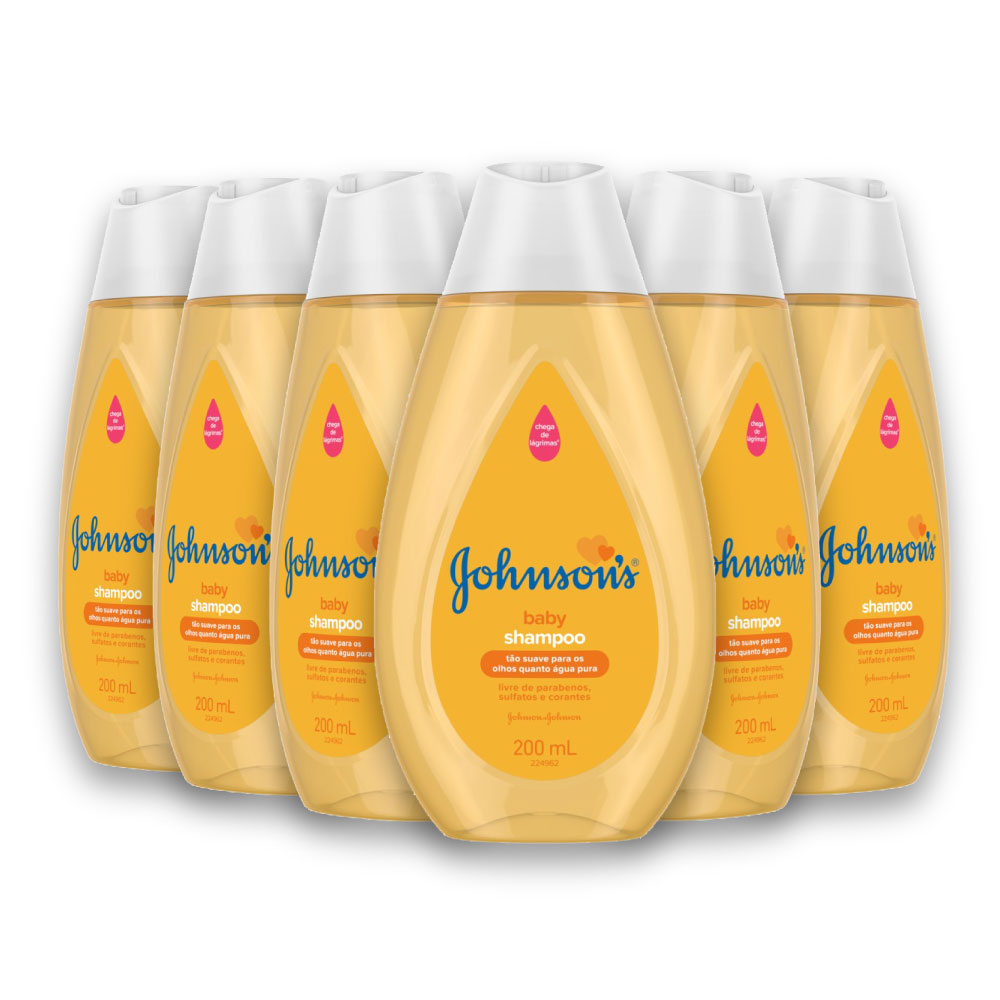 Kit com 6 Shampoos JOHNSON'S Baby Regular 200 ml