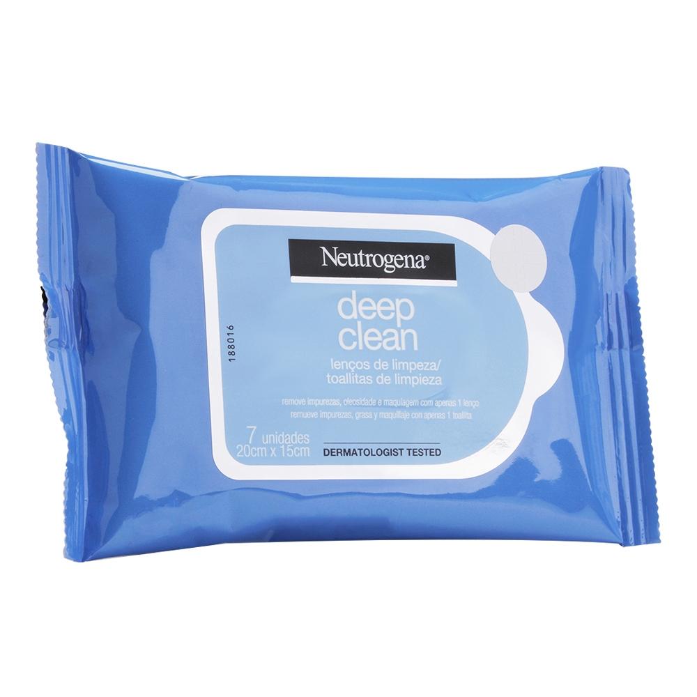 Lenço Demaquilante NEUTROGENA DEEP CLEAN 7 unidades - CX c/ 24