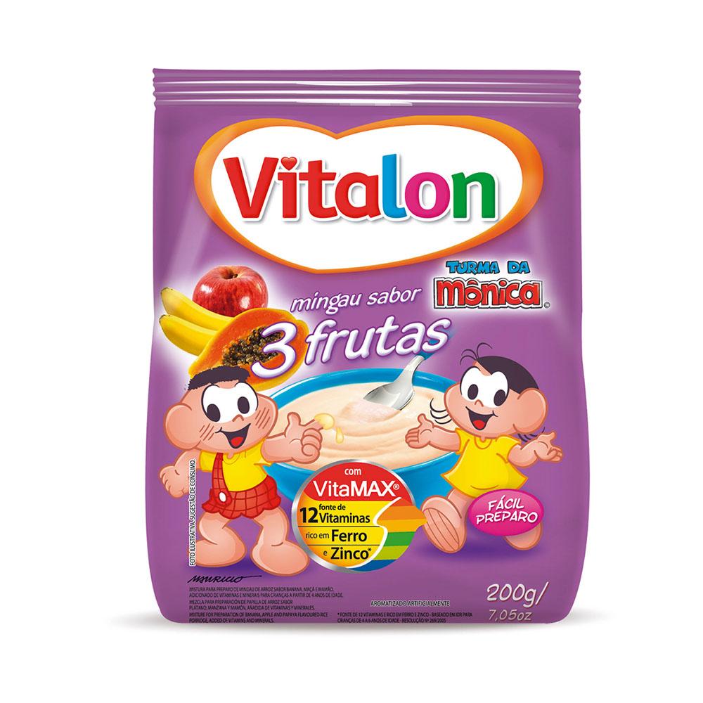 Mingau Vitalon Turma da Mônica 3 Frutas sachê 200g - CX c/ 24