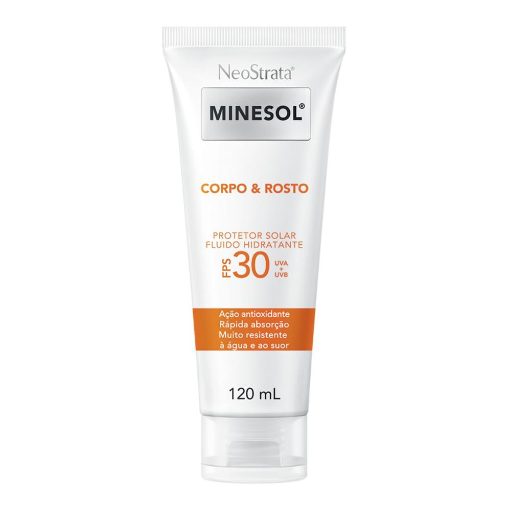 Neostrata Minesol Corpo e Rosto Protetor Solar Fluido Hidratante FPS 30 120 ml - CX c/ 6